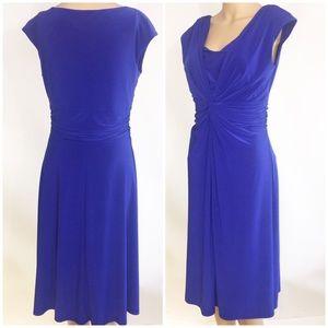 Chaps Blue knotted Sleeveless midi Dress Medium